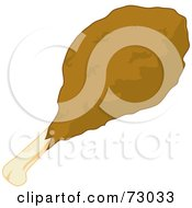 Royalty Free RF Clipart Illustration Of A Fried Chicken Drumstick