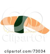 Royalty Free RF Clipart Illustration Of A Salmon Sushi Roll