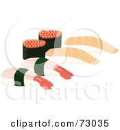 Royalty Free RF Clipart Illustration Of Raw Salmon And Ebi By Sushi Rolls by Rosie Piter