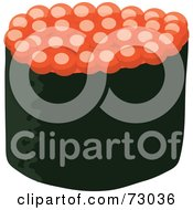 Royalty Free RF Clipart Illustration Of A Salmon Roe Ikura Sushi Roll by Rosie Piter