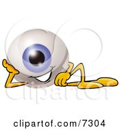 Eyeball Mascot Cartoon Character Resting His Head On His Hand