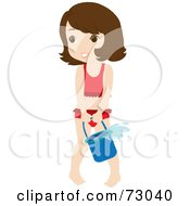 Royalty Free RF Clipart Illustration Of A Cute Little Girl Playing With A Bucket On A Beach