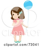 Royalty Free RF Clipart Illustration Of A Cute Little Brunette Girl Holding A Balloon And Eating An Ice Cream Cone