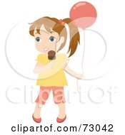 Royalty Free RF Clipart Illustration Of A Cute Little Dirty Blond Girl Holding A Balloon And Eating An Ice Cream Cone
