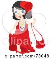 Cute Little Girl Playing Dress Up And Wearing Red
