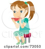 Royalty Free RF Clipart Illustration Of A Cute Little Girl Sitting And Eating Watermelon