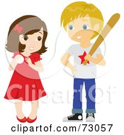 Royalty Free RF Clipart Illustration Of A Cute Little Girl And Boy Playing Baseball