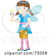 Little Girl In A Blue Fairy Costume Smiling And Trick Or Treating