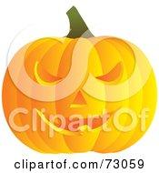 Bright Orange Ridged Carved Halloween Pumpkin