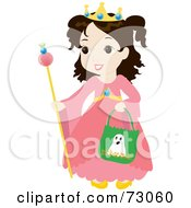 Royalty Free RF Clipart Illustration Of A Little Girl In A Princess Costume Smiling And Trick Or Treating