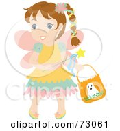 Royalty Free RF Clipart Illustration Of A Little Girl In A Fairy Costume Smiling And Trick Or Treating by Rosie Piter