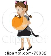Happy White Girl Carrying A Pumpkin And Wearing A Halloween Cat Costume