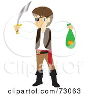 Royalty Free RF Clipart Illustration Of A Little Boy In A Pirate Costume Holding His Halloween Candy Bag