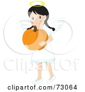 Little Girl In An Angel Costume Smiling And Carrying A Pumpkin
