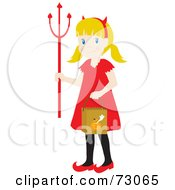 Little Girl In A Devil Costume Smiling And Trick Or Treating