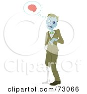 Royalty Free RF Clipart Illustration Of A Creepy Male Zombie Walking And Thinking Of Brains by Rosie Piter