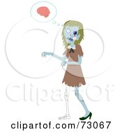Royalty Free RF Clipart Illustration Of A Creepy Female Zombie Walking And Thinking Of Brains by Rosie Piter