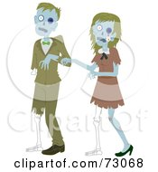 Royalty Free RF Clipart Illustration Of A Creepy Zombie Couple Walking