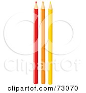 Royalty Free RF Clipart Illustration Of Red Orange And Yellow Colored Pencils