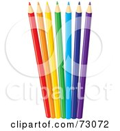 Royalty Free RF Clipart Illustration Of A Group Of Fanned Colored Pencils