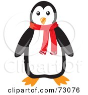 Cute Black And White Penguin Wearing A Red Winter Scarf