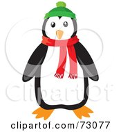 Cute Black And White Penguin Wearing A Green Hat And Red Winter Scarf
