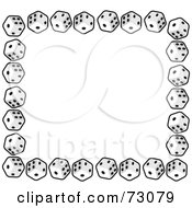 Royalty Free RF Clipart Illustration Of A Border Of Standard Black And White Cubic Dice by Rosie Piter #COLLC73079-0023