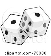 Royalty Free RF Clipart Illustration Of A Pair Of Standard Black And White Cubic Dice by Rosie Piter
