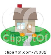 Royalty Free RF Clipart Illustration Of A Little House With Autumn Leaves And Halloween Pumpkins On The Lawn by Rosie Piter