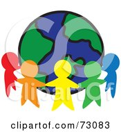 Royalty Free RF Clipart Illustration Of A Circle Of Colorful People Cutouts Around A Globe