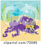 Royalty Free RF Clipart Illustration Of A Purple Octopus Curiously Inspecting A Treasure Near A Sunken Ship