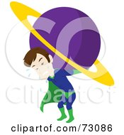 Straining And Sweating Male Super Hero Carrying A Planet