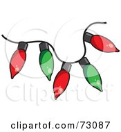 Royalty Free RF Clipart Illustration Of A Red And Green Strand Of Christmas Light Bulbs