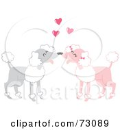 Royalty Free RF Clipart Illustration Of Two Gray And Pink Poodles In Love by Rosie Piter