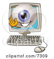 Clipart Picture Of An Eyeball Mascot Cartoon Character Waving From Inside A Computer Screen by Toons4Biz