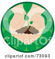 Pair Of Nurturing Hands Holding A Small Plant In A Green Circle