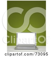 Royalty Free RF Clipart Illustration Of A 3d Silver Laptop Computer With A Blank Screen Over Green Version 1