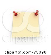 Royalty Free RF Clipart Illustration Of A Pinned Yellow Memo Note On A White Board