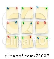 Royalty Free RF Clipart Illustration Of A White Board With Pinned Yellow Memo Notes