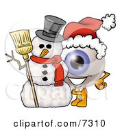 Clipart Picture Of An Eyeball Mascot Cartoon Character With A Snowman On Christmas by Toons4Biz