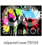 Royalty Free RF Clipart Illustration Of Black Silhouettes Of Dancers Over Colorful Grungy Splatters