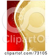Royalty Free RF Clipart Illustration Of A Waves Of Gold And White With Snowflakes Dividing A Background Of Red And Gold