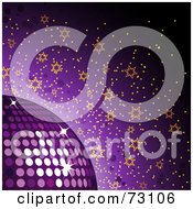 Royalty Free RF Clipart Illustration Of A Purple Background With A Sparkly Disco Ball And Orange Stars