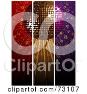 Royalty Free RF Clipart Illustration Of A Triple Split Red Gold And Purple Disco Ball Background With Stars
