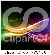 Royalty Free RF Clipart Illustration Of A Bright Neon Waves Flowing Over Blackness by elaineitalia