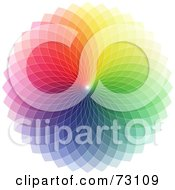 Royalty Free RF Clipart Illustration Of A Colorful Rainbow Spirograph Wheel On White