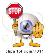 Clipart Picture Of An Eyeball Mascot Cartoon Character Holding A Stop Sign by Toons4Biz