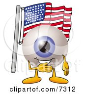 Eyeball Mascot Cartoon Character Pledging Allegiance To An American Flag