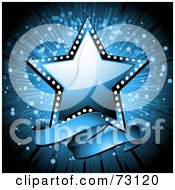 Royalty Free RF Clipart Illustration Of A Shiny Blue Star With A Blank Banner Over An Explosion by elaineitalia