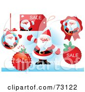 Royalty Free RF Clipart Illustration Of A Digital Collage Of Santa With Retail Stickers And Sale Icons by Pushkin